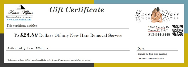 Laser Hair Removal Gift Certificate